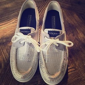 Silver Sequined Sperrys